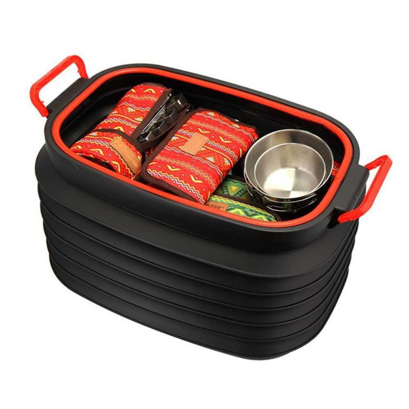 37L Outdoor Trash Storage  Bucket Portable Retractable Folding  Water Bucket With Handles Lid For Fishing Camping Car Travel