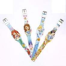 Disney Cartoon digital Luminous Wristwatch Princess Series Electronic Label kids