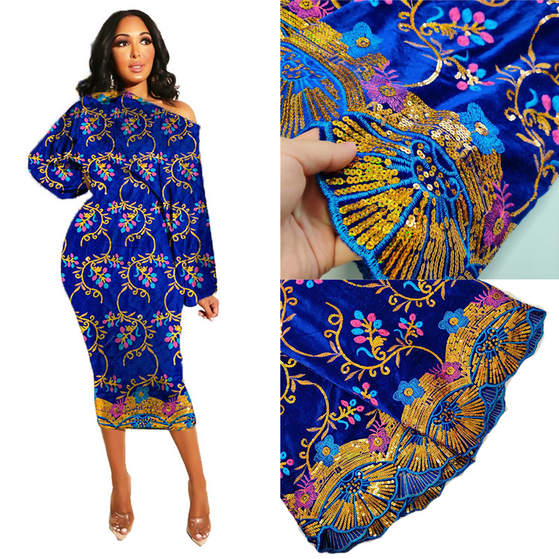 Velvet Lace Fabric Dresses Latest Nigerian French Tulle Lace with Sequin High Quality African Sequins Lace Fabric