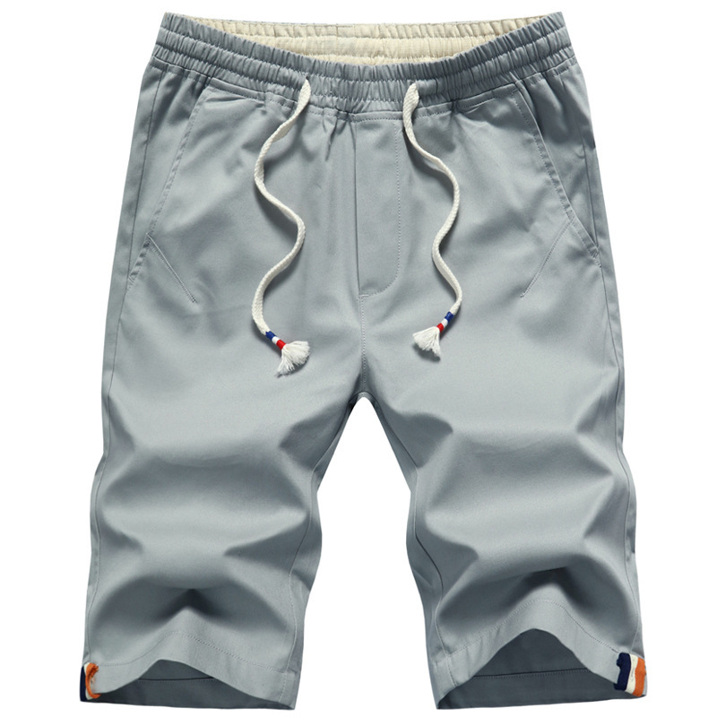Men Cotton Shorts Summer Overalls Short Pants Fashion Loose Elastic Waist Beach Shorts Larger Size 5XL Straight Knee Length Pant