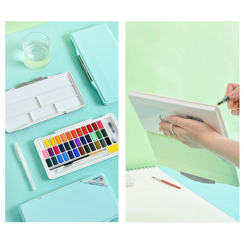 24 Colors profession Solid Watercolor Paint Set Macarons Water Color Pigment Portable Box With Water Brush Pen Art Supplies 21 colors solid watercolor palette pigment powder paint set with water brush watercolor paper watercolor pen watercolors box set