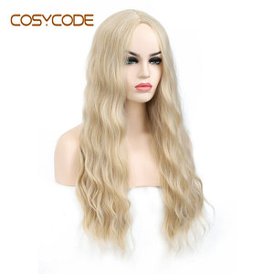 COSYCODE Blonde Wavy Wig Long Natural Wave Curly Middle Part Wig 24 inch None-Lace Synthetic Costume Cosplay Party Wigs