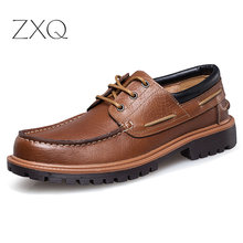 New Fashion Punk Style Urban Men Leather Shoes Retro Lace Up Hand-Sewing Boat Casual Oxford