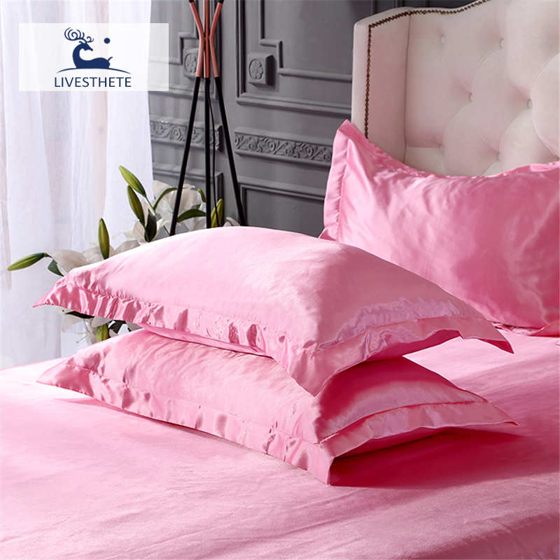 Liv-Esthete Luxury 100% Silk Pink Pillowcase Healthy Skin Queen King Silky Pillow Case For Women Man Kids Sleeping Wholesale