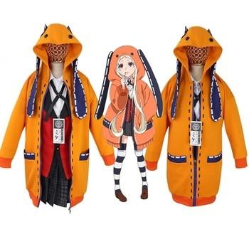 Cosplay de Anime Kakegurui 2020, disfraz compulsivo, jugador, Runa Yomotsuki, sudadera con capucha para mujer, chaqueta naranja con calcetines hechos a medida