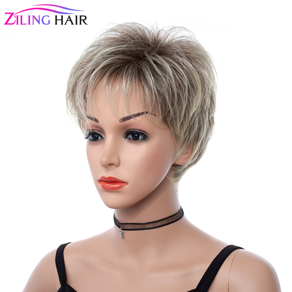 Synthetic Ombre Short Ash Blonde Natural Wave Hair Wigs For Women 613 Blond Cosplay Women's Wig Ziling Hair