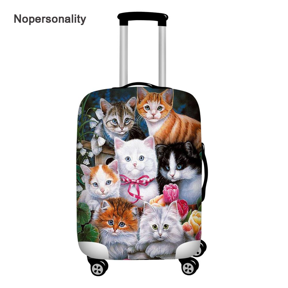 Nopersonality Trolley Case Suitcase Dust Cover Elastic Cat Print Luggage Protective Cover Suitable 18-32 Inch Travel Accessories
