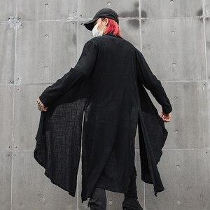 Image 3 - Lente Zomer Koreaanse Stijlvolle Grijs Zwart Extra Lange Pop Punk Vest Linnen Shirts Voor Mannen