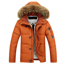 90 White Duck Down winter Warm Coat Men #8217 s Hat Detachable Fur Collar Parkas Down Jacket Hooded Feather Clothing for Men Male cheap JUNGLE ZONE Thick (Winter) JUNGLE ZONE YR8232 REGULAR Casual Single Breasted Denim Acetate Full Solid Pockets Zippers