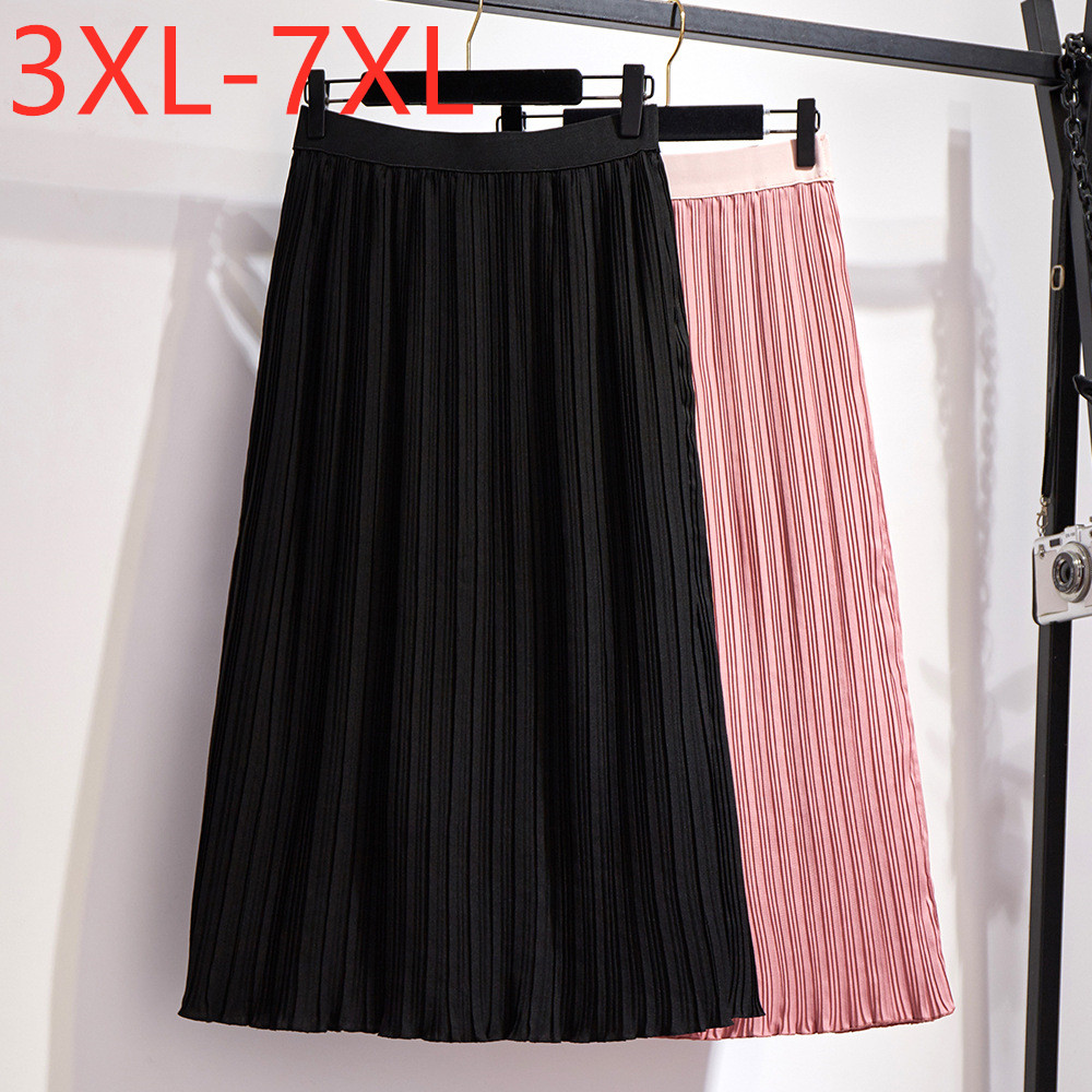 New 2020 Korea Summer Plus Size Long Skirt For Women Large Casual Loose Chiffon Pleated Skirts Black Pink 3XL 4XL 5XL 6XL 7XL
