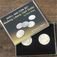 Four in One Walking Liberty Half Dollar Set Magic Tricks Coin Appear Vanish Magia Magician Accessory Close Up Illusion Mentalism