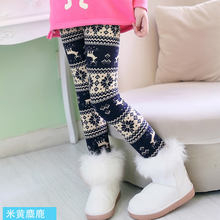 LEAPPAREL New Arrival Winter Girls Trousers Thickened Leggings Cotton Pants Kids Printing Slim Legging For Children  стоимость