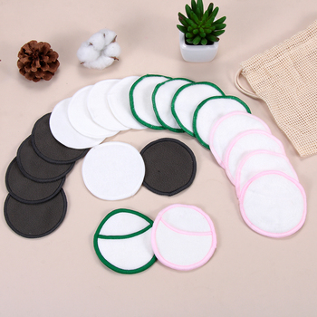 5Pcs/bag Reusable Bamboo Cotton Make Up Tools Remover Pad Washable Portable Facial Wipes Cleansing Pads with Laundry Bag 1