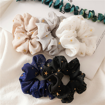Shiny Star Chiffon Silk Scrunchies Women Elastic Rubber Hair bands Girl Ponytail Holder Ties Ropes accessories New - discount item  20% OFF Headwear