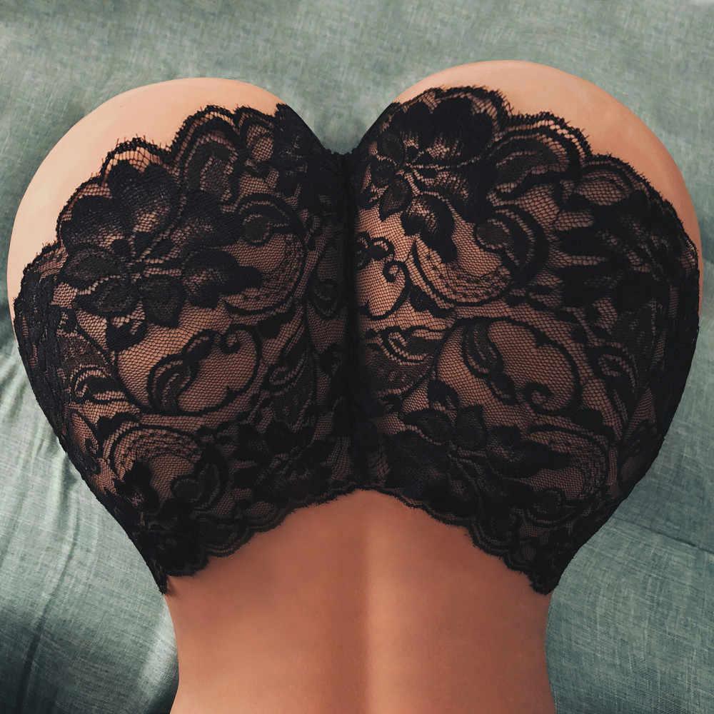 Wanita Menyenangkan Pinggang Tinggi Renda Floral Renda Pakaian Dalam Celana Celana Bernapas Pakaian Thong G-string Ukuran Besar XL #1019