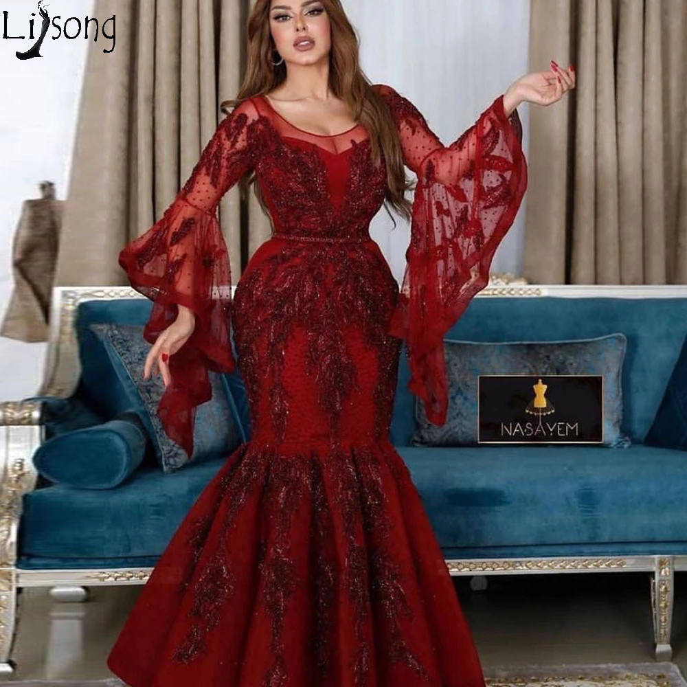 Wine Red Mermaid Prom Dresses 2020 Long Sleeve Beaded Lace Applique Arabic Evening Dress Formal Gown Robe De Soiree Abendkleider