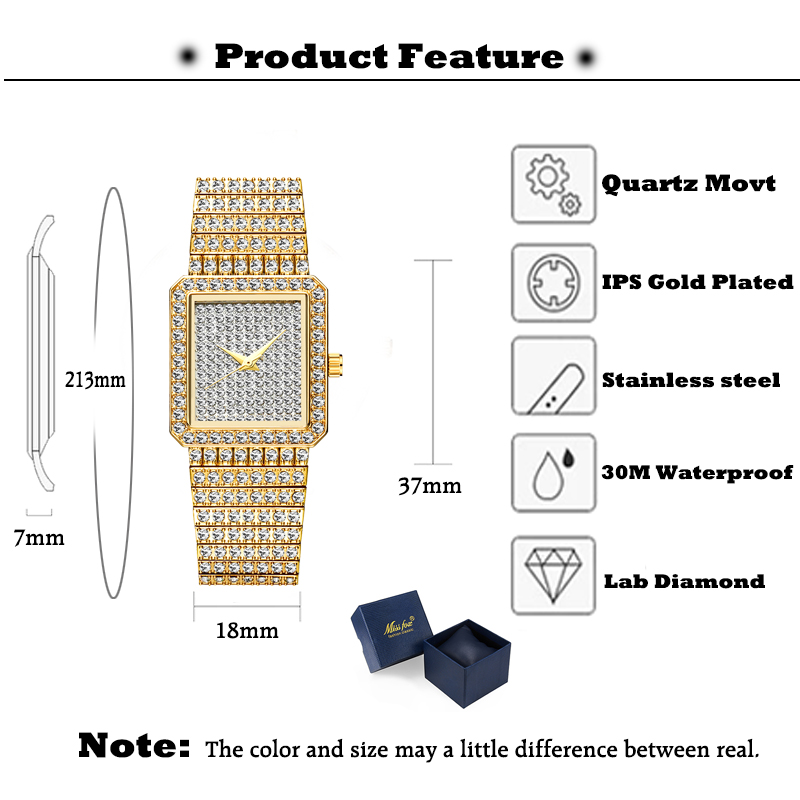 Image 2 - MISSFOX Diamond Watch For Women Luxury Brand Ladies Gold Square Watch Minimalist Analog Quartz Movt Unique Female Iced Out WatchWomens Watches   -