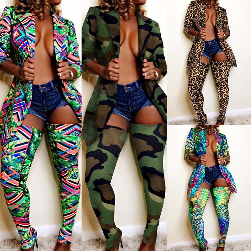 Sexy Two Pieces Set Turn Down Collar Long Coat + Long Socks Camouflage Peacock Green Leopard Print Womens Tracksuit Set Winter