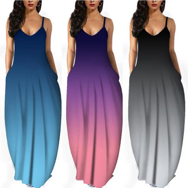 Women Summer Plus Size Maxi Dresses Sexy Solid Stripes Dress Casual Female Loose Sleeveless Tie Dye Beach Party Dress 2021 New 4