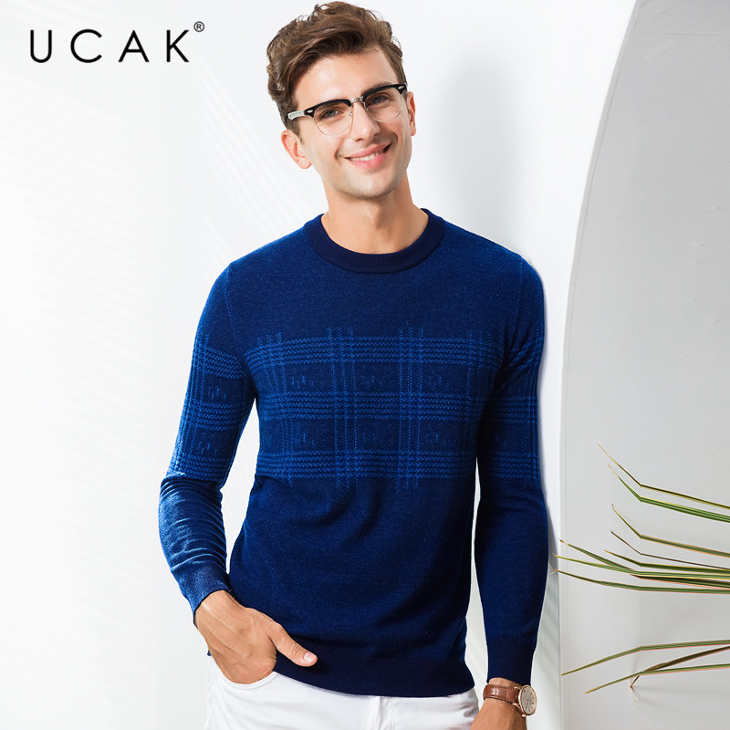 UCAK Brand Pure Merino Wool Sweater Men Streetwear Fashion Plaid Pull Homme Autumn Winter Pullover Men Cashmere Sweaters U3080