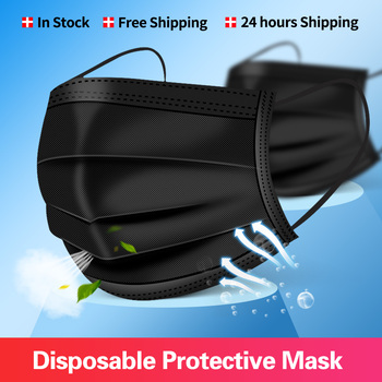 In Stock Free shipping Black Disposable Mask Non-wove Face Mouth Masks Melt Blown Cloth Anti-Dust Masks Earloops Mascarillas