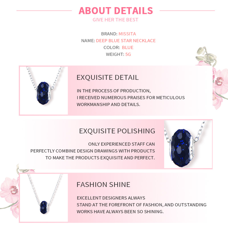 MISSITA Romantic Deep Blue Star Murano Bead Necklace for Women Clear CZ Charm Necklaces Brand Fashion Jewelry Hot Sale in Pendant Necklaces from Jewelry Accessories