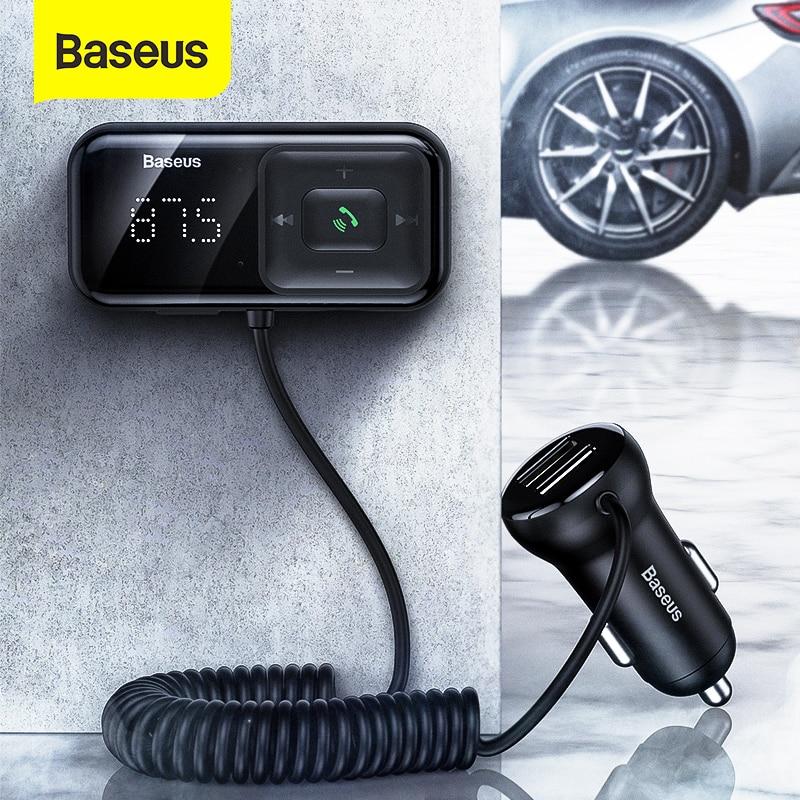 Baseus Modulateur FM Transmetteur Bluetooth 5.0 FM Radio 3.1A USB Chargeur De Voiture Kit De Voiture Mains Libres Sans Fil Audio FM Transmetteur