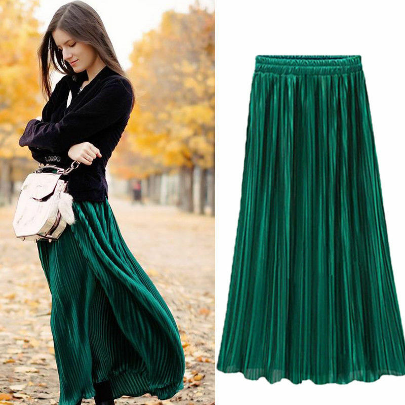Spring Summer Pleated Skirt Womens Vintage High Waist Skirt Solid Long Skirts New Fashion Metallic Skirt Female