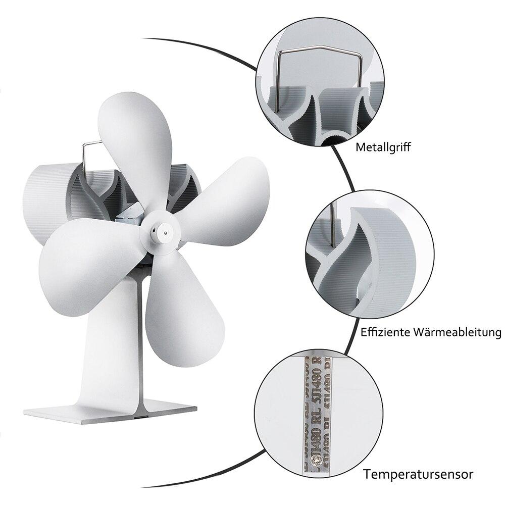 Quiet Fireplace Fan 4 Blade Heat Powered Stove Fan For Wood/Log Burner/Fireplace Efficient Heat Distribution Fuel Saving