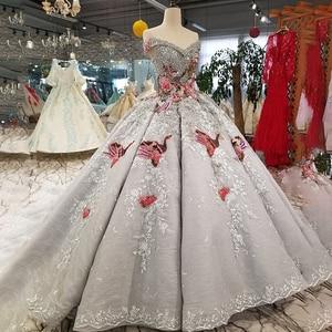 Image 3 - LS91289 di lusso abito di sfera del vestito da sera con il colore manualità fiori off spalla vestito da partito di paillettes con il treno come foto