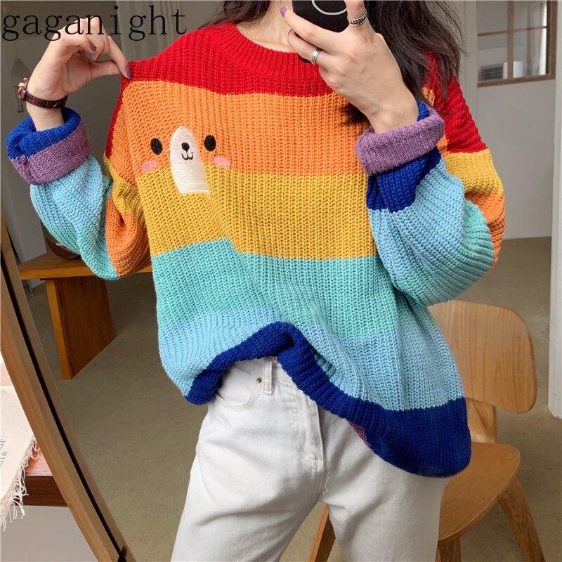 Gaganight Cute Bear Women Sweater Autumn Winter Rainbow Strip Pullover Long Sleeve O Neck Embroidery Loose Jumper Pull Femme