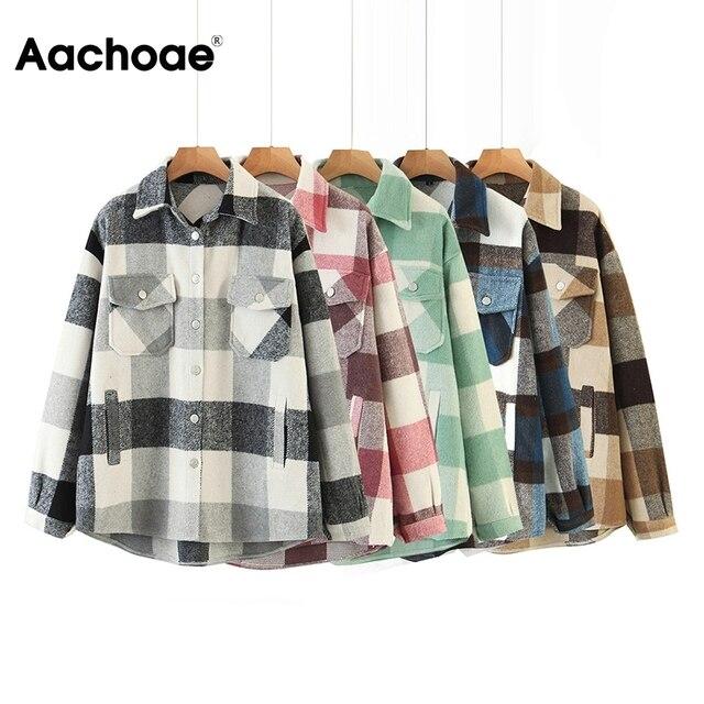 Aachoae – Veste en laine ample et décontractée à carreaux pour femme, col rabattu, moderne, manteau d'automne avec poche, manches longues, de différentes couleurs 2