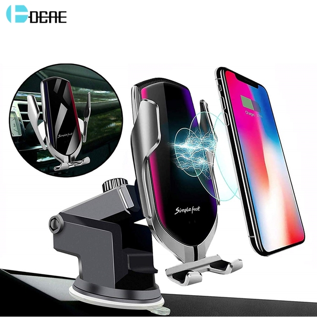 $ US $7.50 DCAE Automatic Clamping Infrared Auto Induction QI Car Wireless Charger Holder for IPhone 11 Pro Max XS XR X 8 Samsung S8 S9 S10