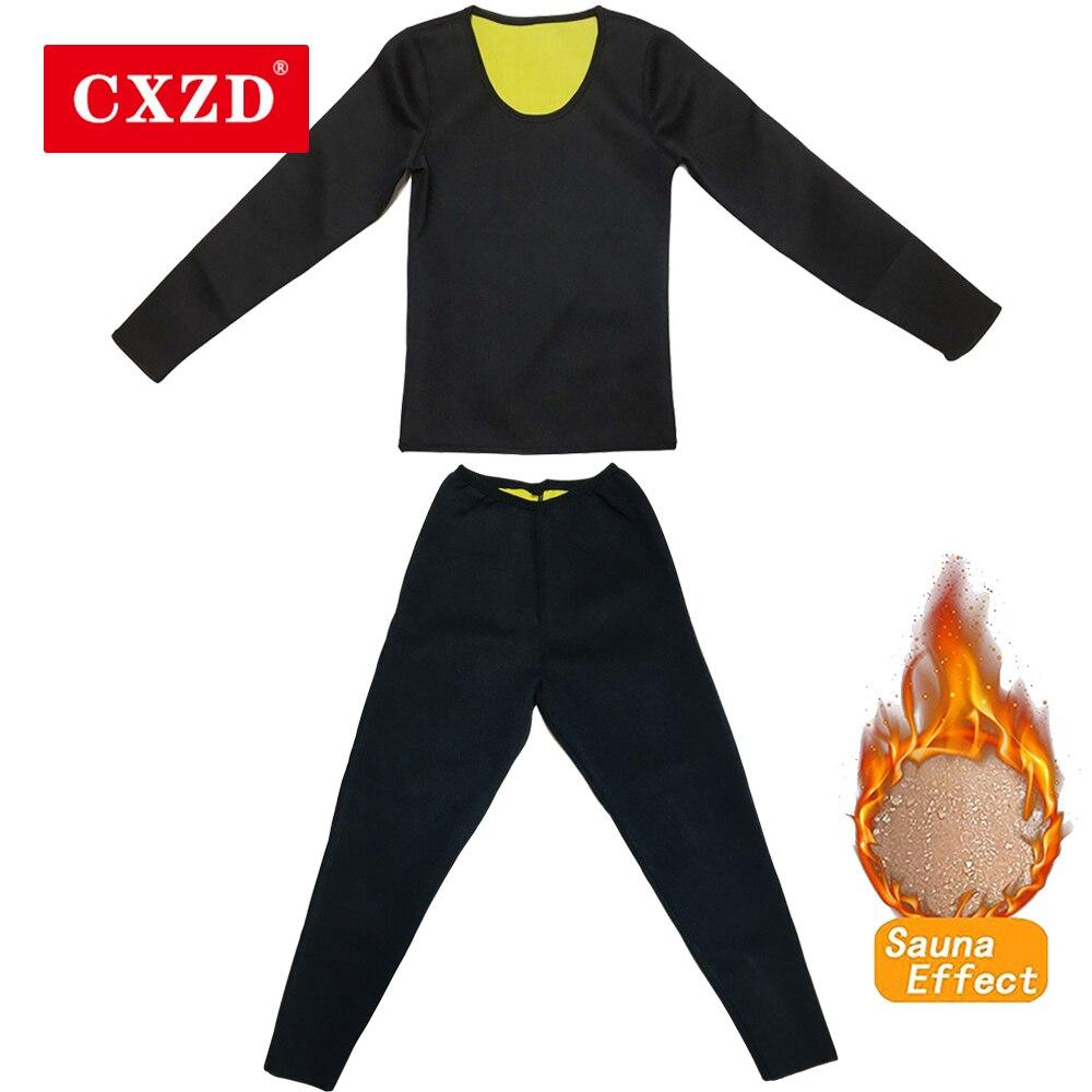 CXZD Hot Thermo Body Shaper Slimming Long Sleeve Shirt + Pant Workout Sweat Sauna Suit Neoprene Shapewear Bodysuit Weight Loss