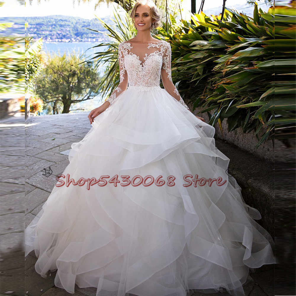 Vintage Ball Gown Wedding Dresses Princess 2020 Long Sleeve Open Back Appliques Lace Tulle Tiered Skirt Bridal Wedding Gowns Aliexpress,Outdoor Wedding Fall Wedding Guest Dresses 2020