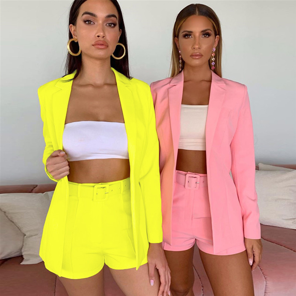 Sexy Blazer Set Women Summer Fashion Long Sleeve Cardigan Jacket +High Waist Short Pants Solid Color Casual Loose Two-piece Suit