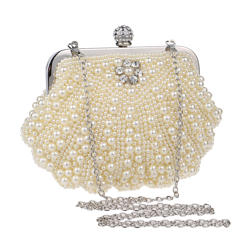 Luxury Women Pearl Beaded Evening Bag Meatal Frame Fashion Clutch Purse High-end Shell Handbag for Lady Girl Party Banquet Club