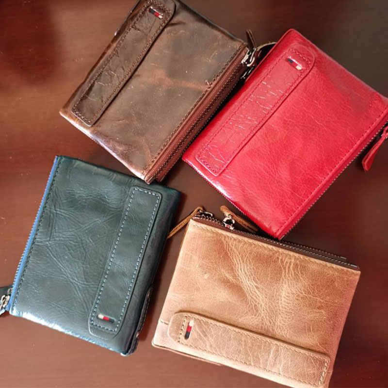 ホット!!! 本革の女性の財布財布コイン財布女性の小さな Portomonee 二つ折り Rfid 財布女性財布男性マネーバッグ