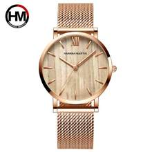 2020 Nieuwe Collectie Japan Quartz Houtnerf Walnoot Fashion Rvs Mesh Band Waterdicht Vrouwen Horloges(China)