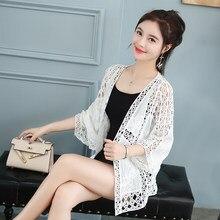 2019 Protetor Solar Xale blusa das Mulheres Casuais camisa Branca Outerwear Solto Oca-out Lace Tops