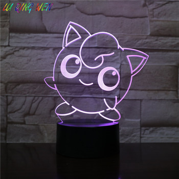 Pokemon Go Jigglypuff Figure Kids Night Light LED Bedside Atmosphere Colorful Night Light Child Holiday Gift 3D Lamp Jigglypuff