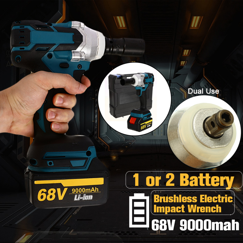 68V 9000mah 320n.m Brushless Lithium-ion Electric Impact Wrench Motor Dual Use Electric Power Tools EU Plug