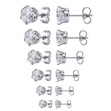 Stainless Steel Round Transparent Cubic Zirconia Ear Studs Earrings Simple Fashion Silver Color Small Earring for Women