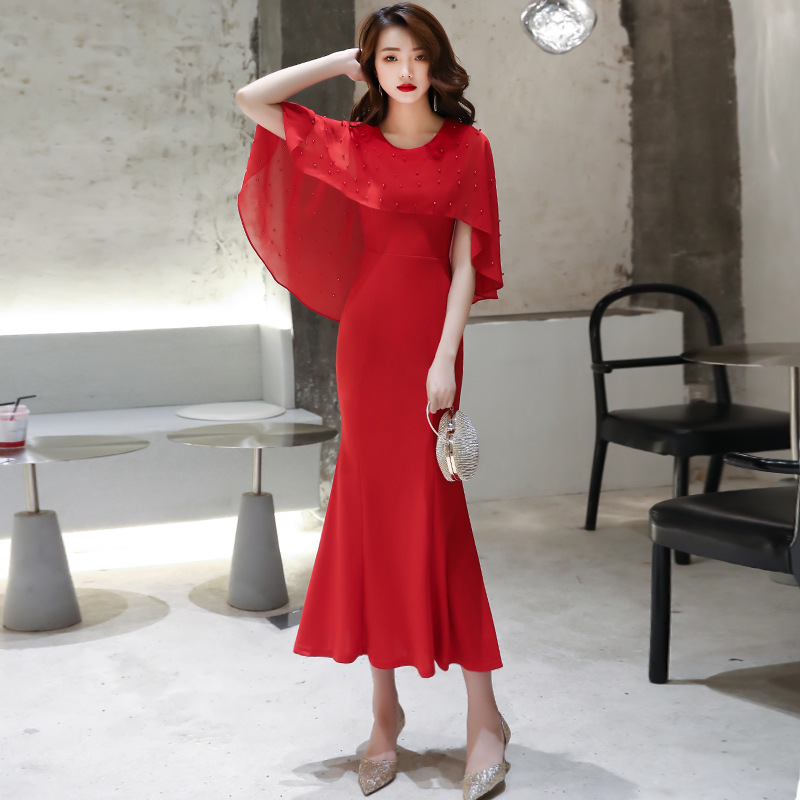 Vestido Cocktail Evening Dress Female 2020 New Noble Temperament Banquet President Style Celebrity Simple And Generous Toast