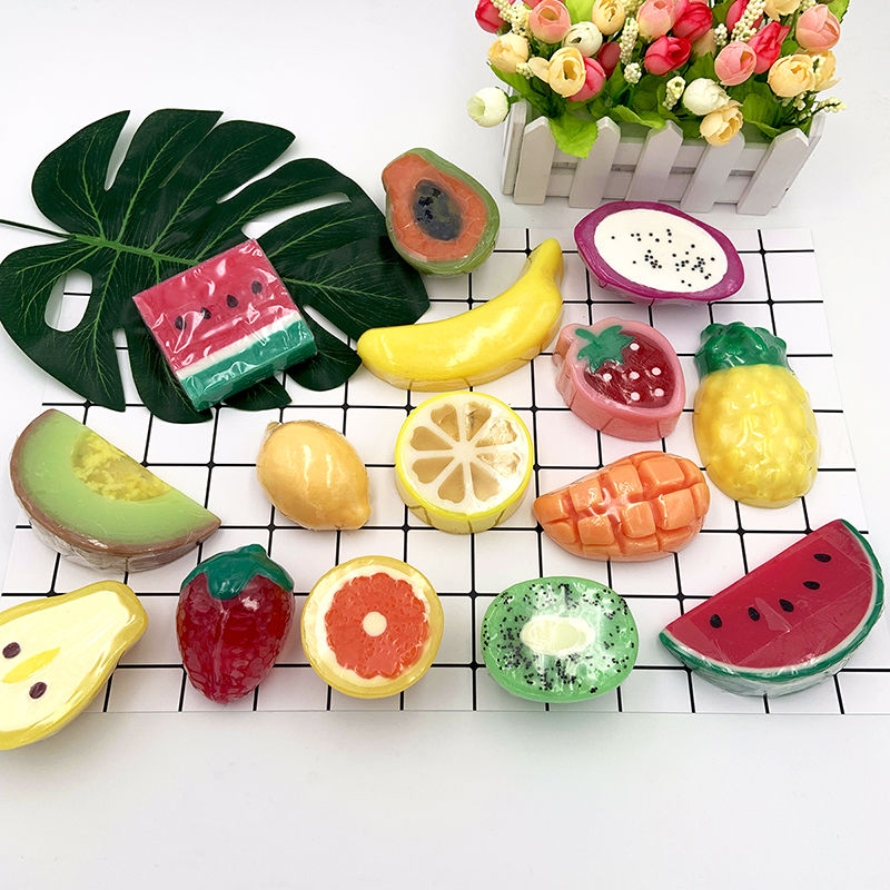 Fruit Soap Creative Handmade Soap Children Bathing Hand Washing Face Cleansing Essential Oil Soap Birthday Gifts
