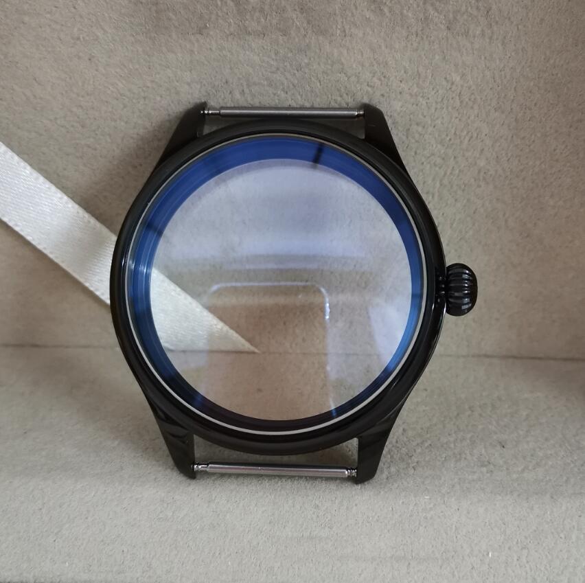 고품질 PVD 블랙 파일럿 44mm 시계 케이스 316L 스테인레스 스틸 호박 모양 크라운 블루 코팅 미네랄 글라스 G009