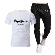 Men's Spring Summer Cotton Sportswear Sets Run Elasticity Short Sleeve T Shirt+Trousers Comfortable Breathable Sportswear Suit