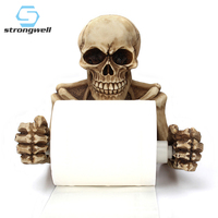 Strongwell Nordic Skull Roll Holder Resin Vintage Wall Hanging Wall Decor Horrible Face Wall Art Home Decoration Accessories