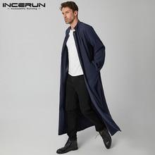 Vintage Men Long Coats Long Sleeve Solid Color Streetwear Faux Fleece Blends Men Overcoats 2021 Button Long Style Trench INCERUN