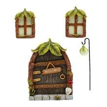 Fairy Garden Decoration Ornaments Glowing In The Dark Resin Miniature Door Window Street Light Status For Garden
